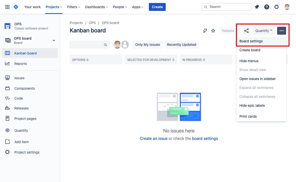 Kanban board settings