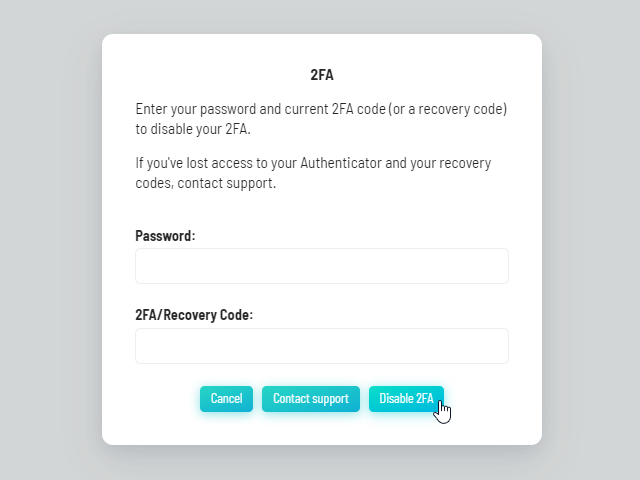 Disabling the Two-Factor Authentication