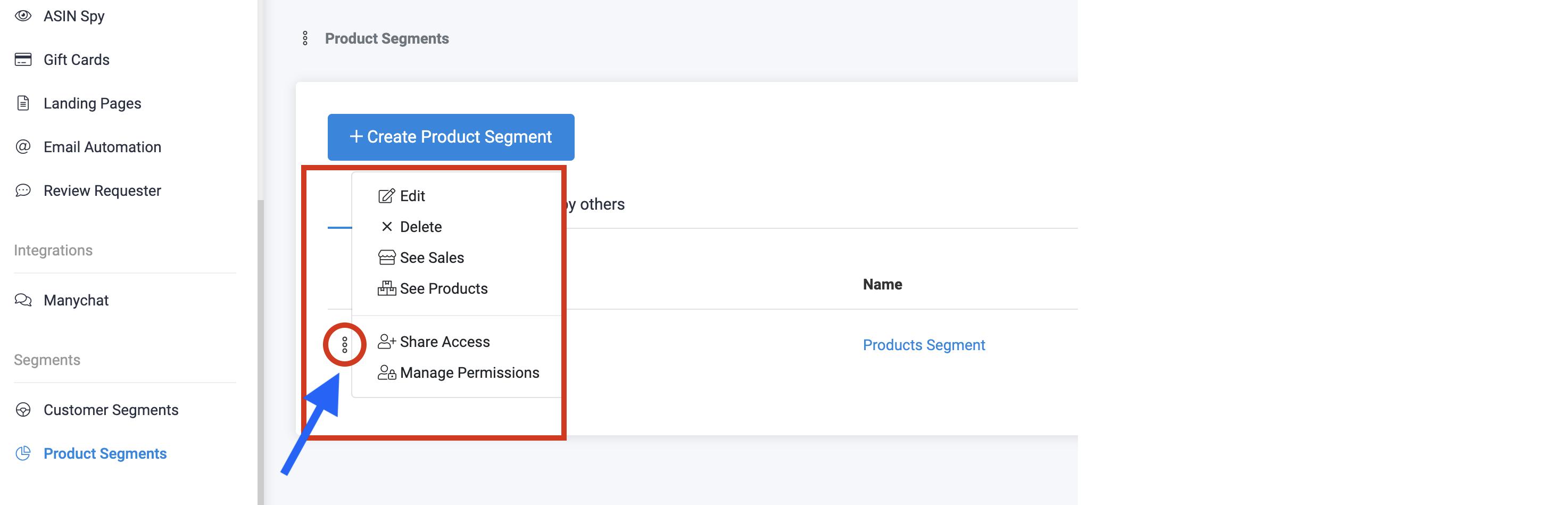 Product Segments-Segments Menu