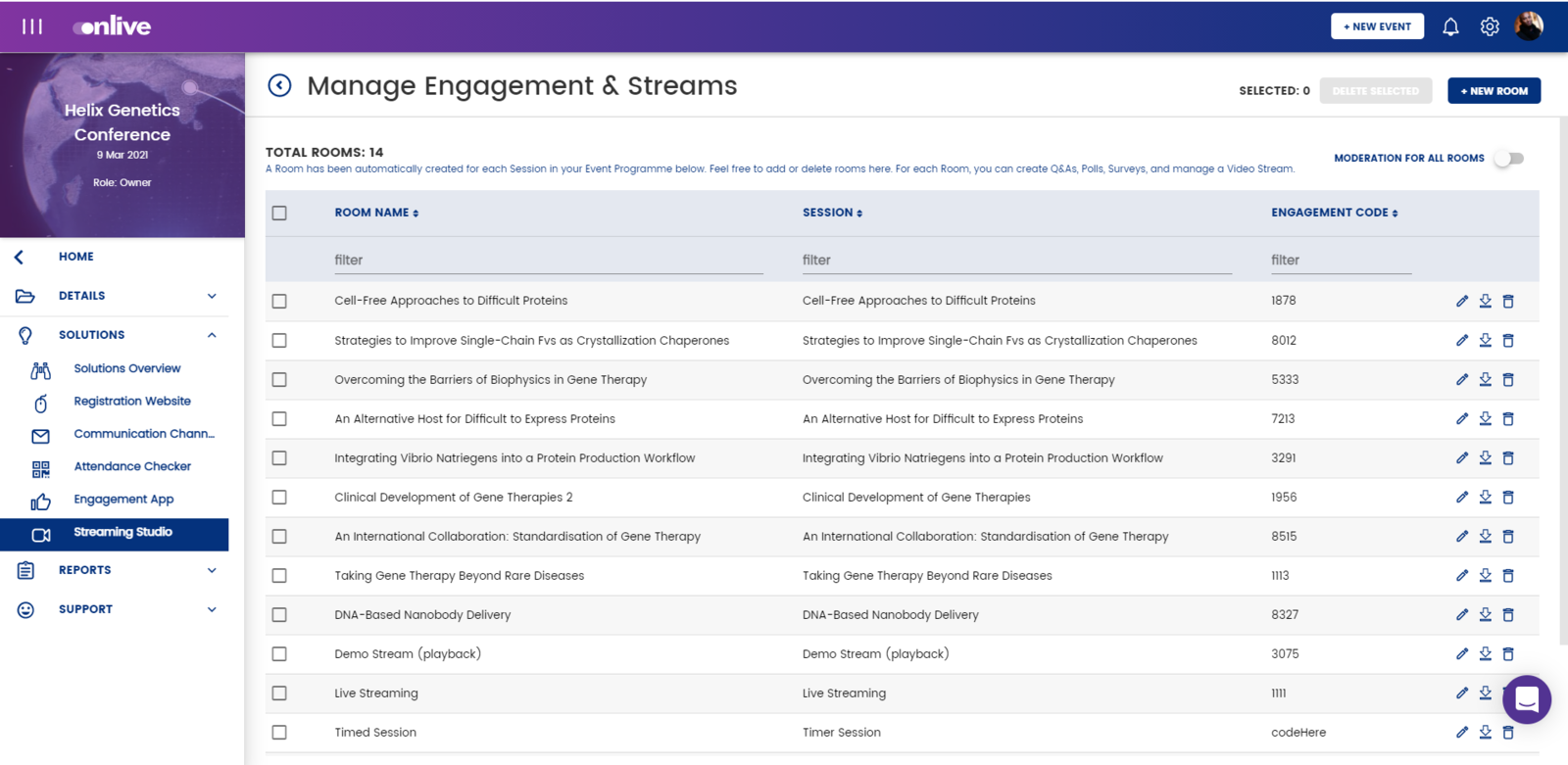 manage engagement and streams
