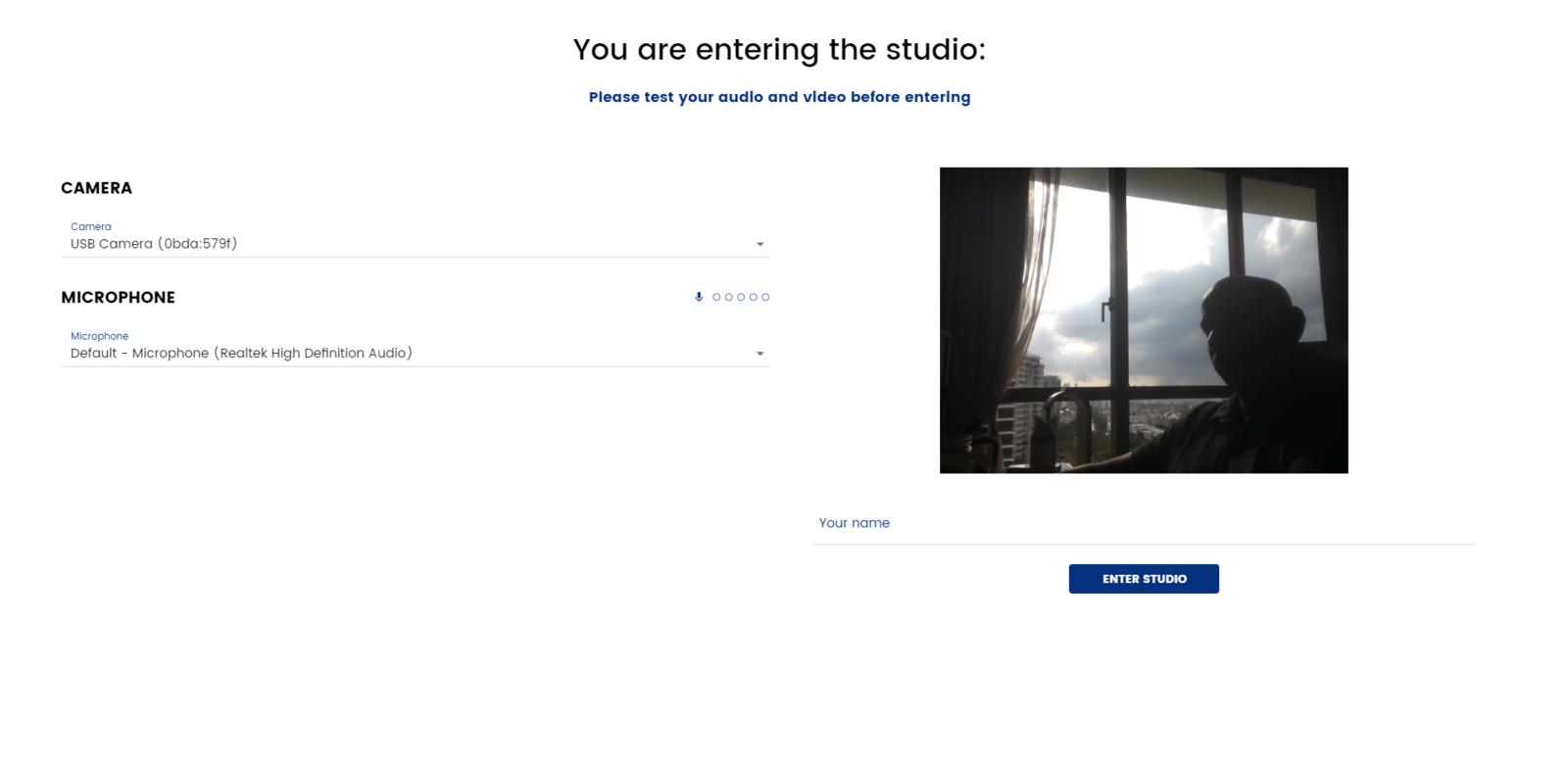 entering studio