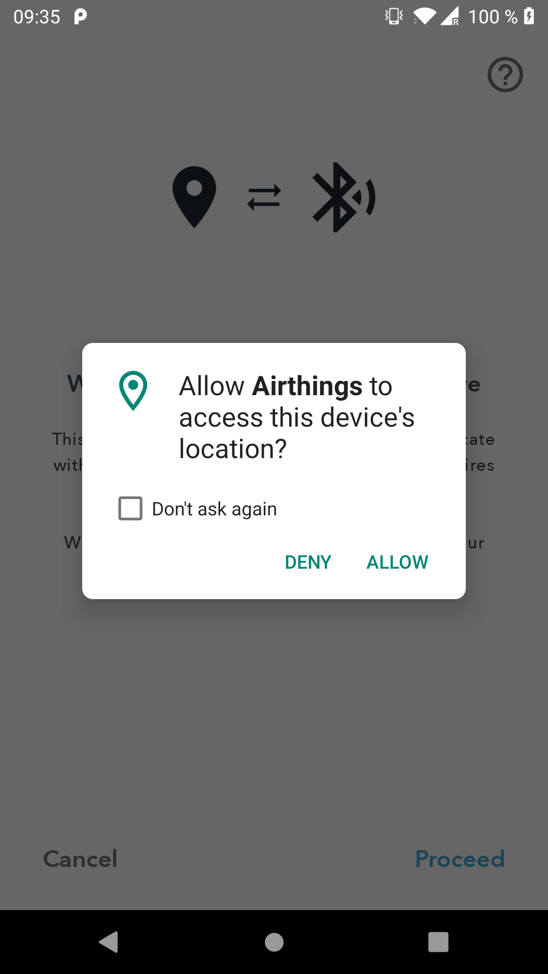 System location popup: Allow Airthings to access this device's location