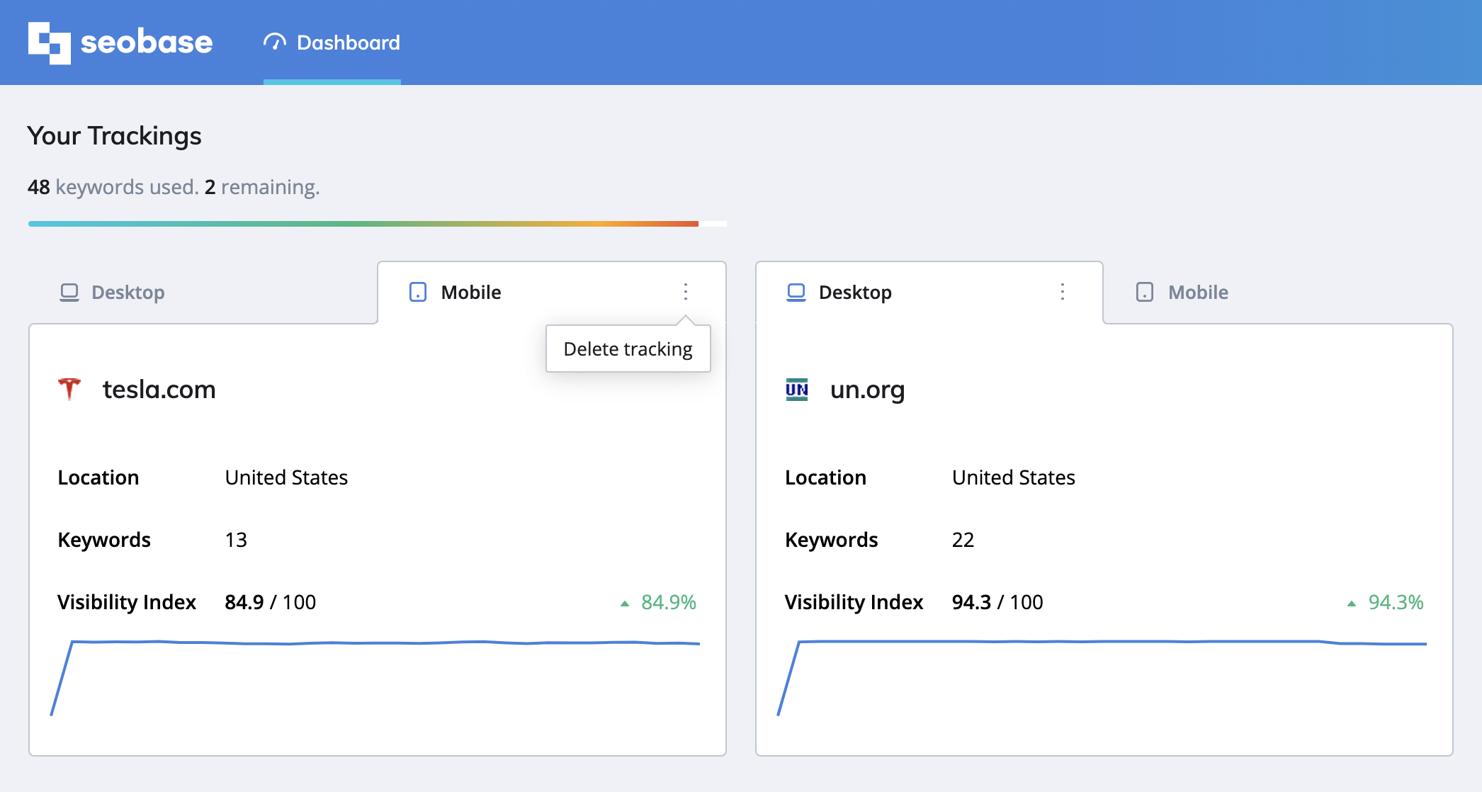 seobase dashboard, tracking info, desktop and mobile trackings, delete tracking