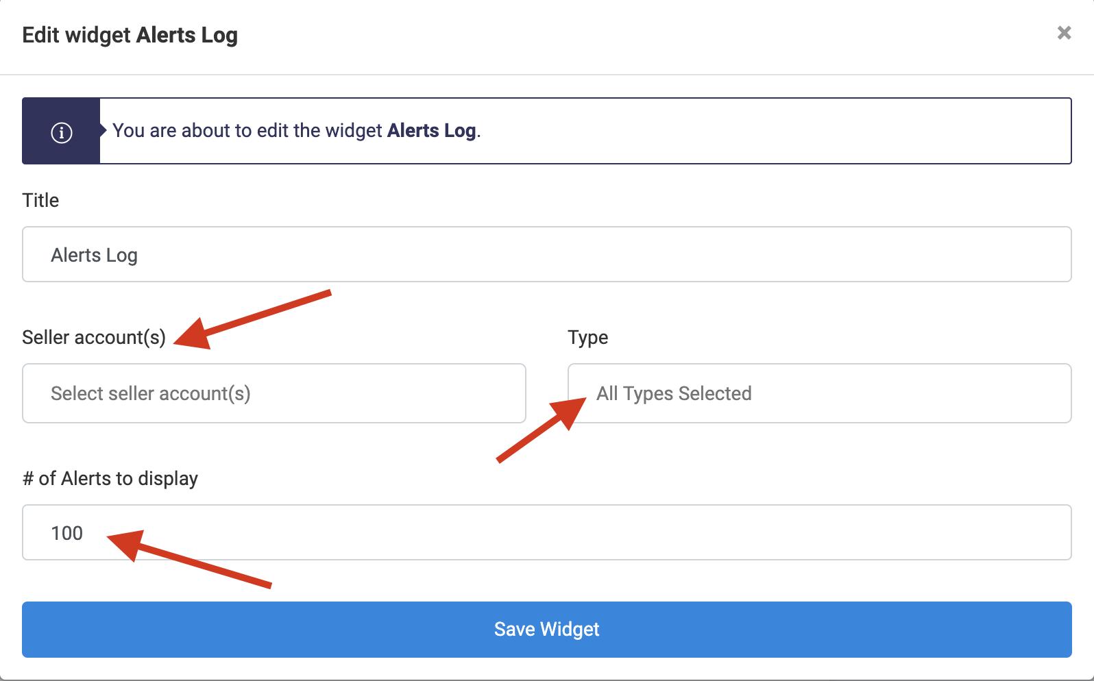 View Alerts Historical Log-Edit Widget Alerts Log