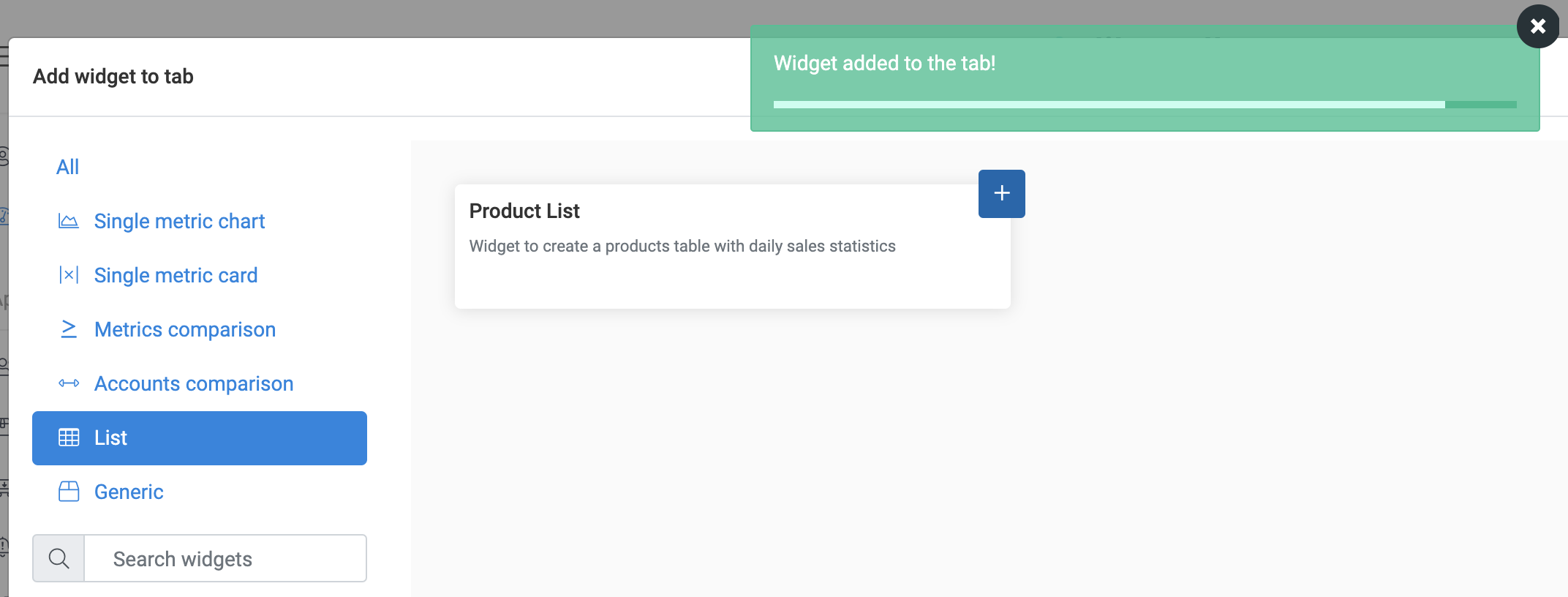 Add The Product List Widget-Product Added