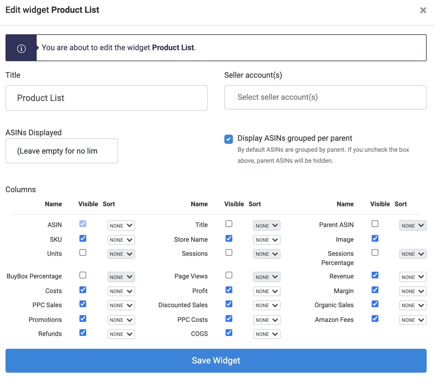 Add The Product List Widget-Edit Product List