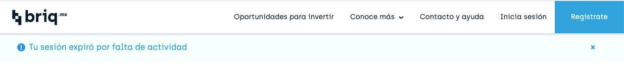 mensaje cuando se cierra sesión automáticamente por inactividad en briq.mx