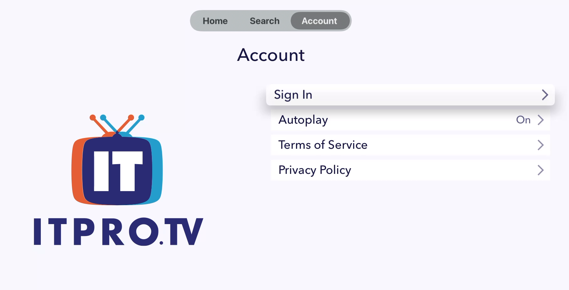 ITProTV AppleTV app Account Page, Sign In selected