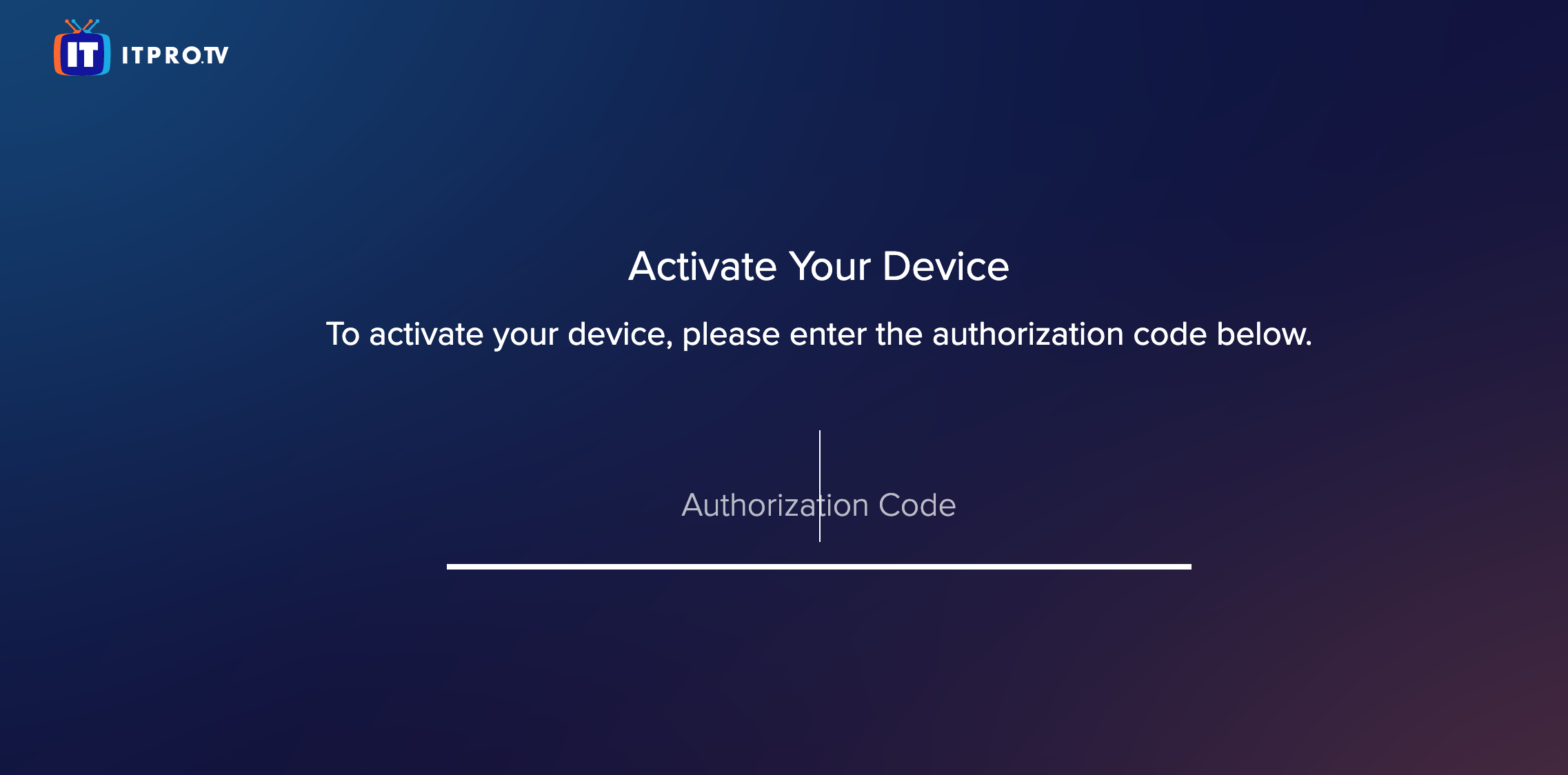 the ITProTV activation page