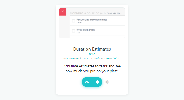 Duration Estimates strategy in ☰ → Strategies