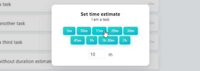 Using the Set time estimate to change the duration estimate