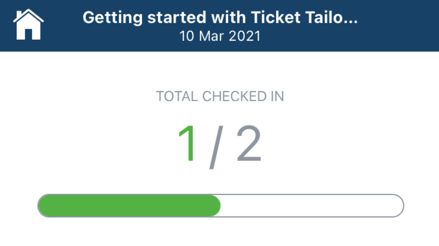 Screenshot of the check in count in the tazotix app