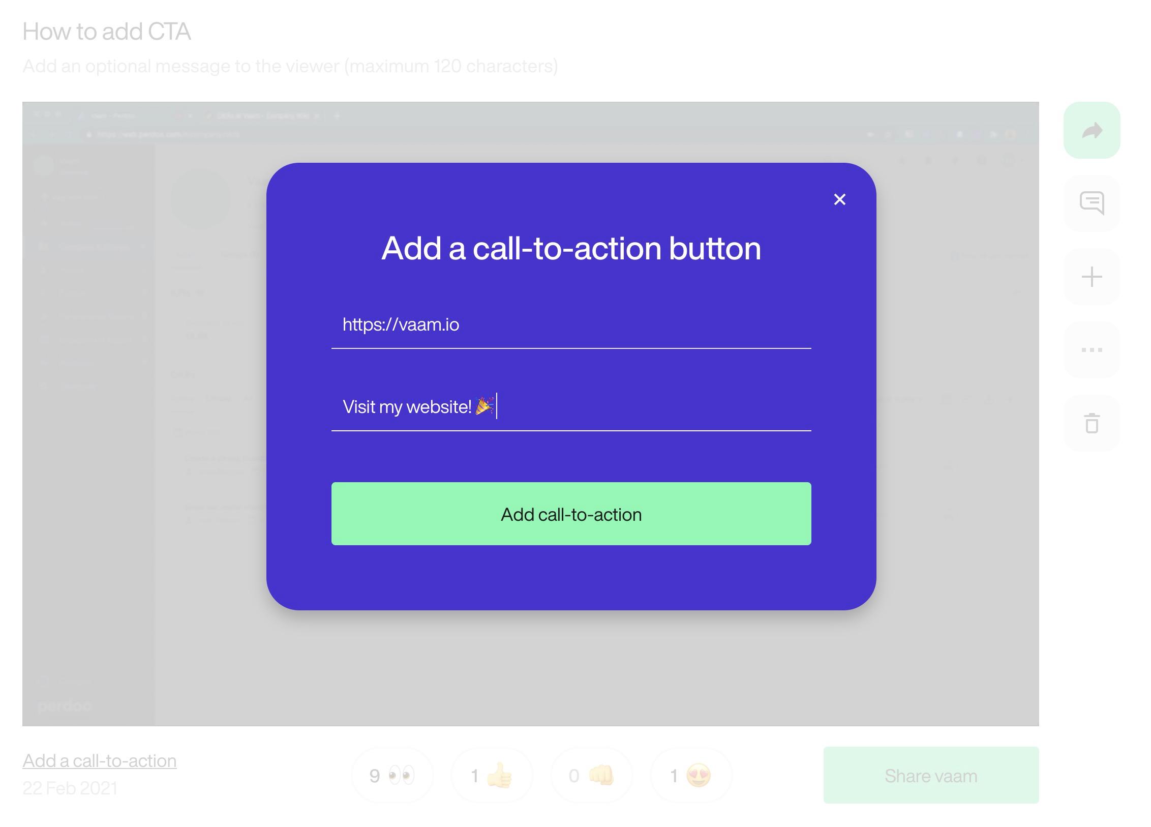 CTA creation modal
