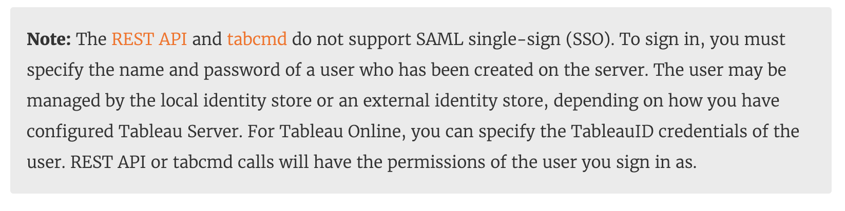 Tableau disclaimer about REST APIs and SAML