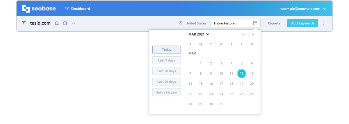 date range settings, calendar, tracking overview
