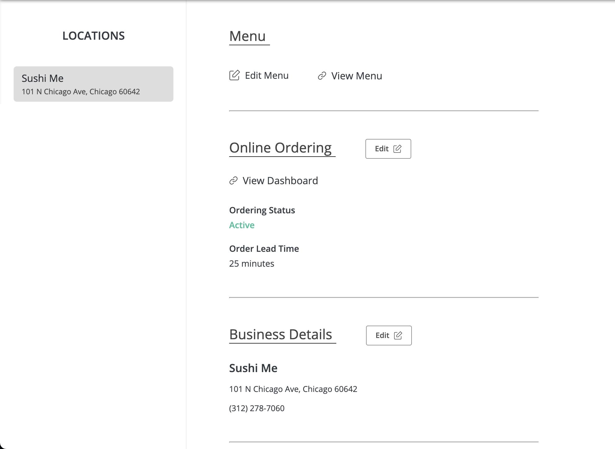 One2 Menu Online Ordering screen