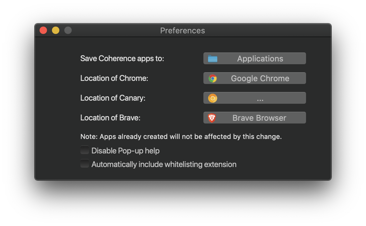 Coherence for macOS prefrences
