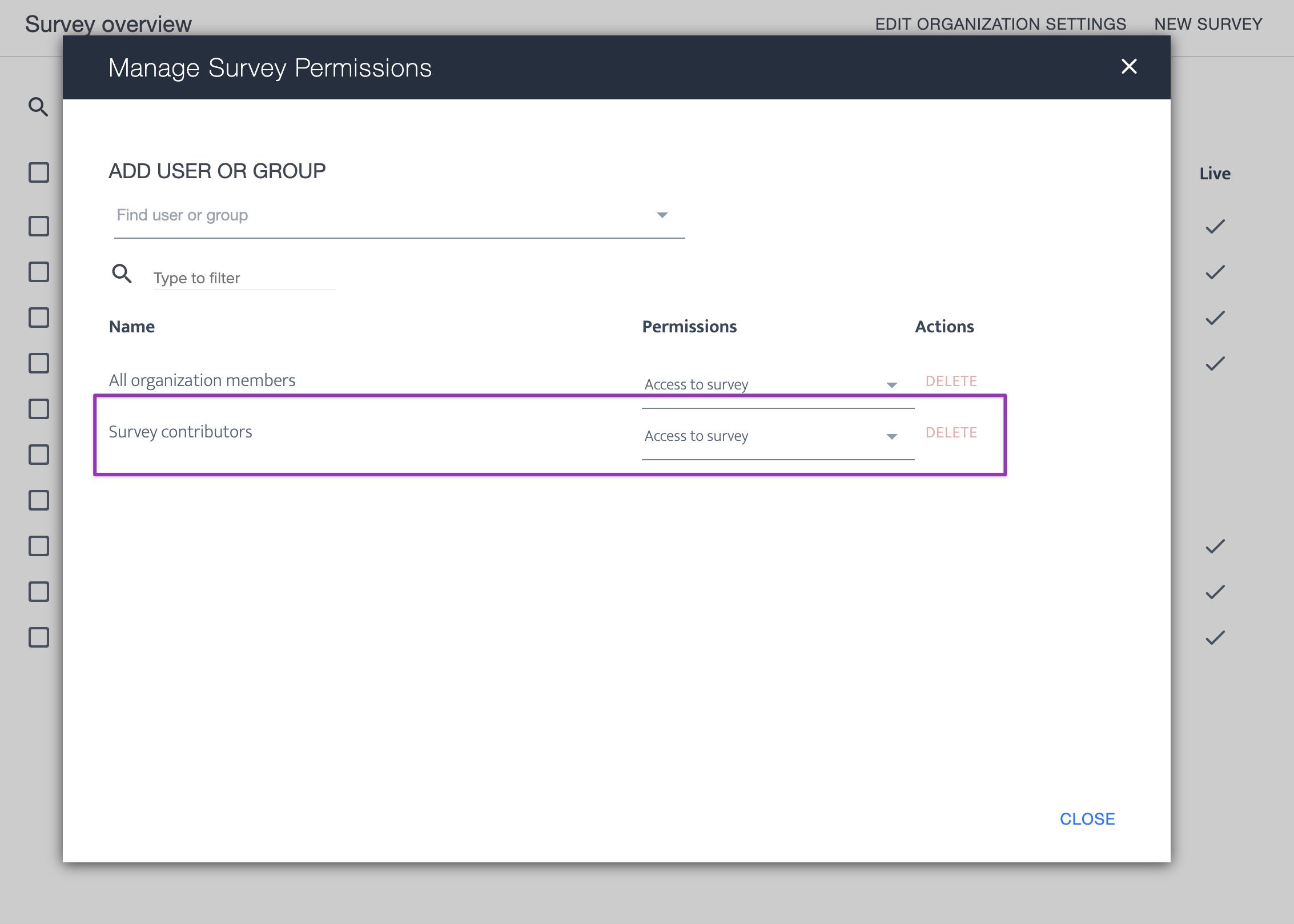 ardoq manage survey permissions