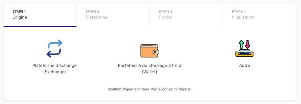 Lors de l'étape 1 sur le logiciel Waltio, cliquez sur la case Plateforme d'échange (Exchange)