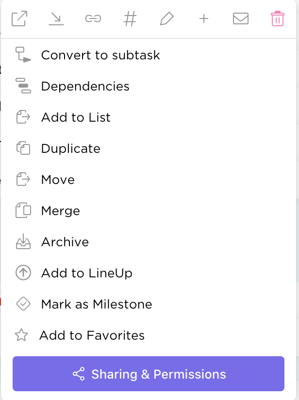 Right click on any task in List view to reveal task management options