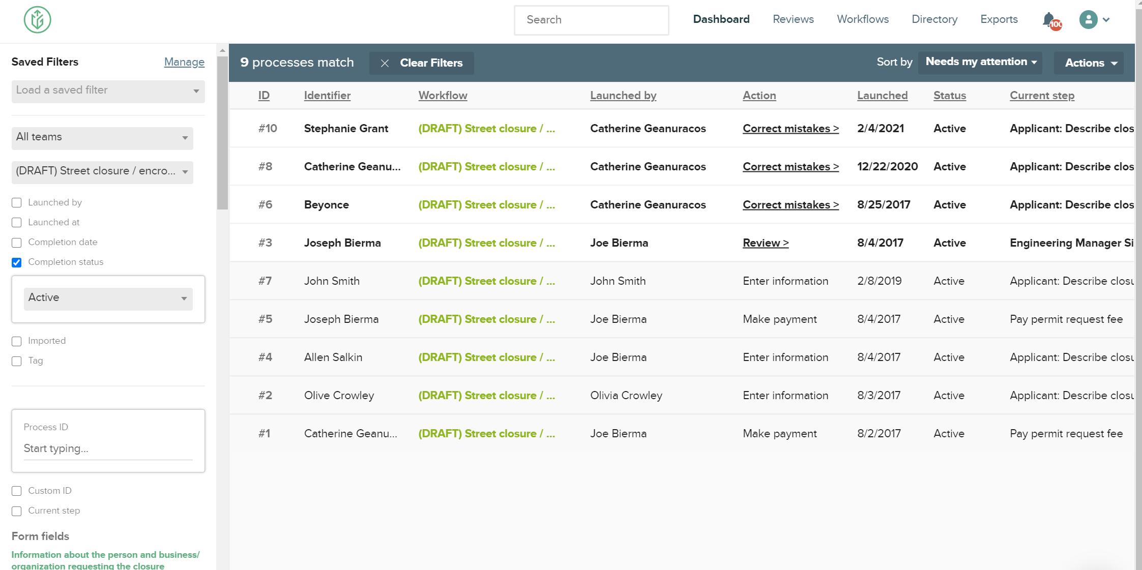 CityGrows dashboard with identifier field