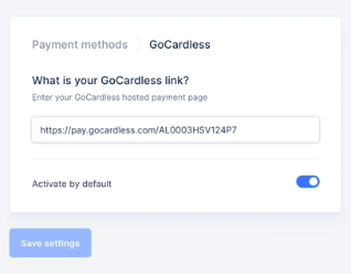 add GoCardless as a payment method in Upflow