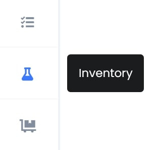 Conical flask icon on the left hand side of your workspace toolbar labelled 'Inventory'
