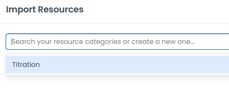 Import resources search icon, allowing one to search or create a new resource category