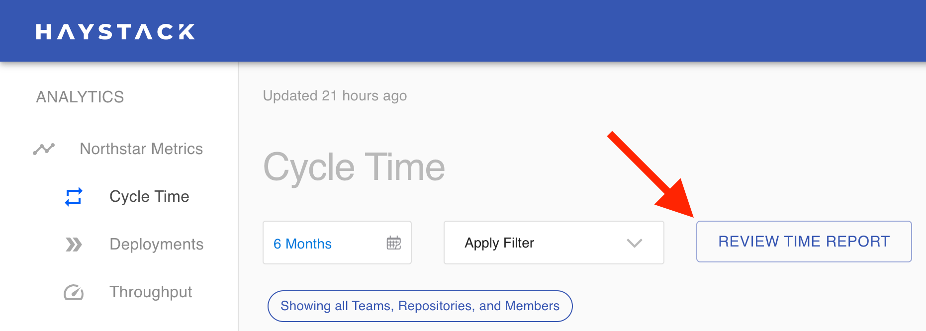 Finding the Review Time Report in the Haystack Dashboard