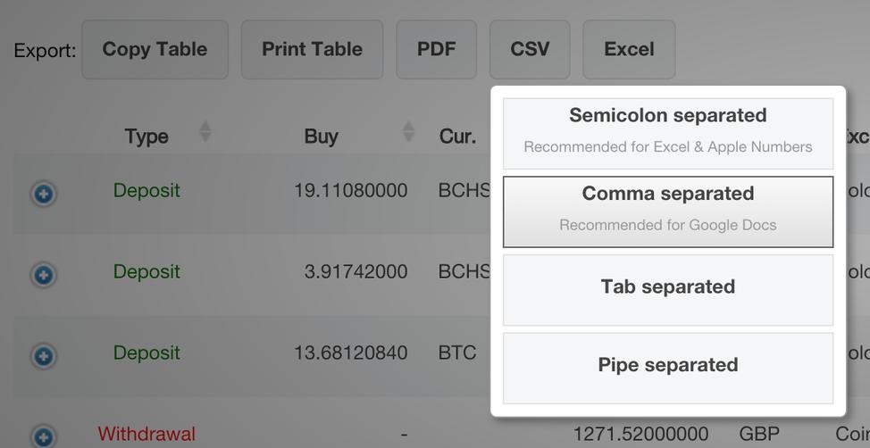 Cliquez sur la case Comma separated afin de télécharger un fichier CSV