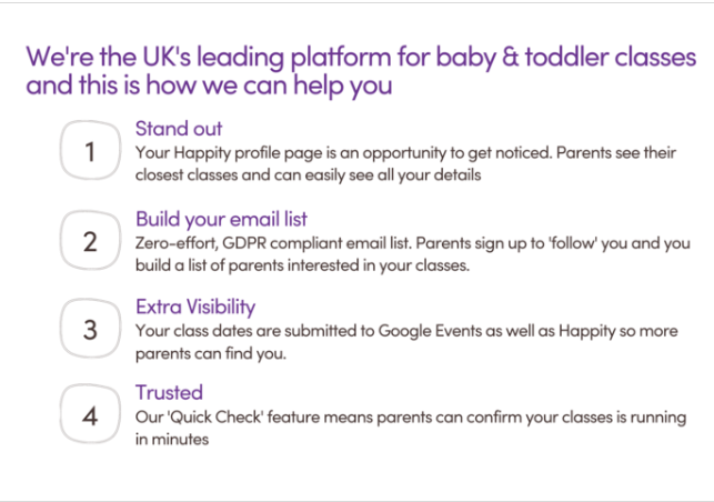 The UKs leading platform for baby and toddler classes Happity