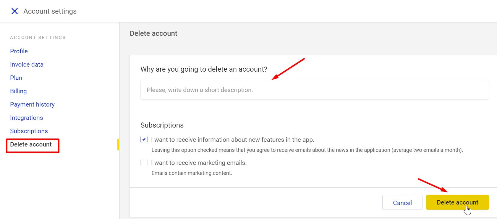 deleting an account in napoleoncat feedback