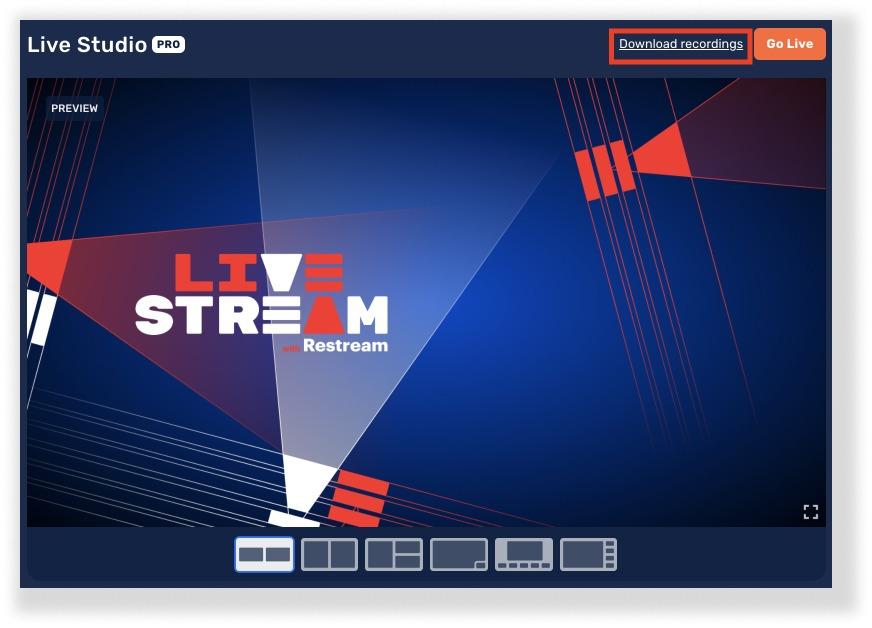 Download live stream recordings in Restream Studio