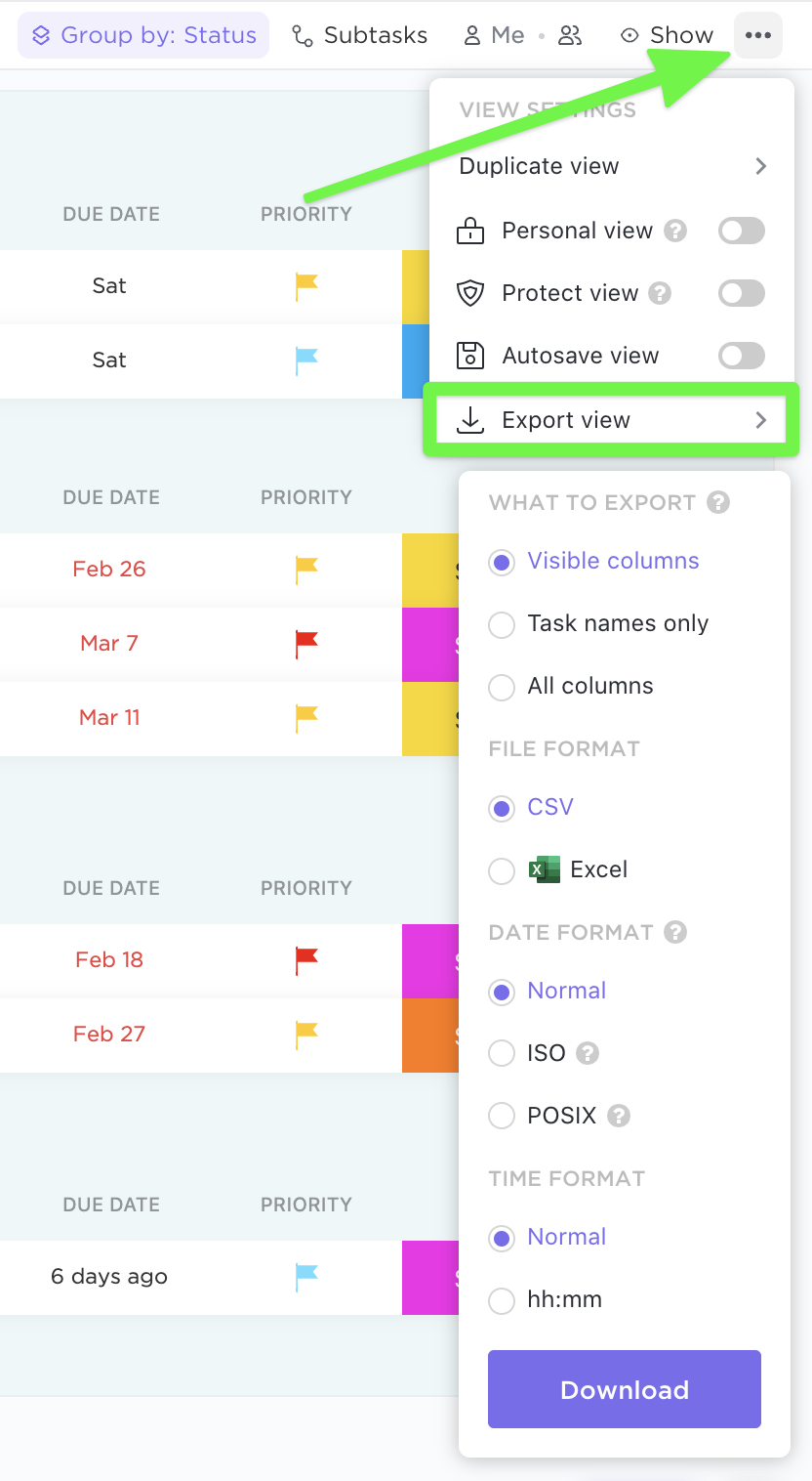 How to export List and Table view