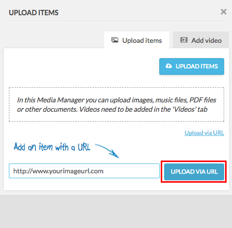 upload items with upload via url being highlighted
