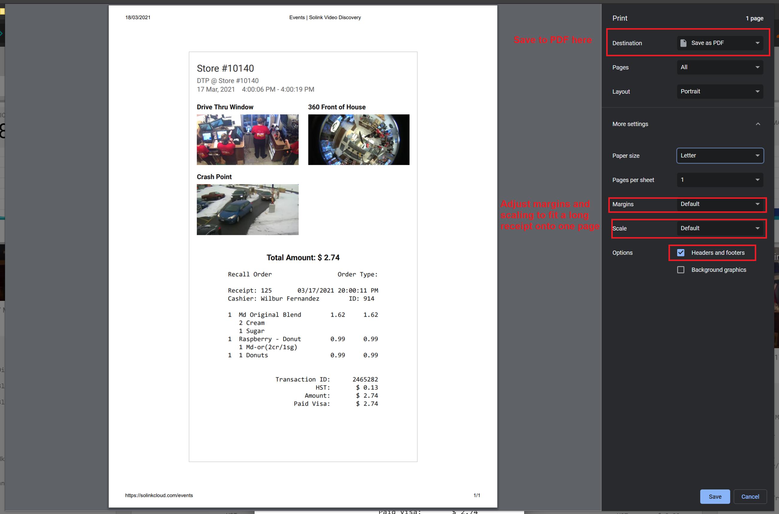 Chrome's print settings