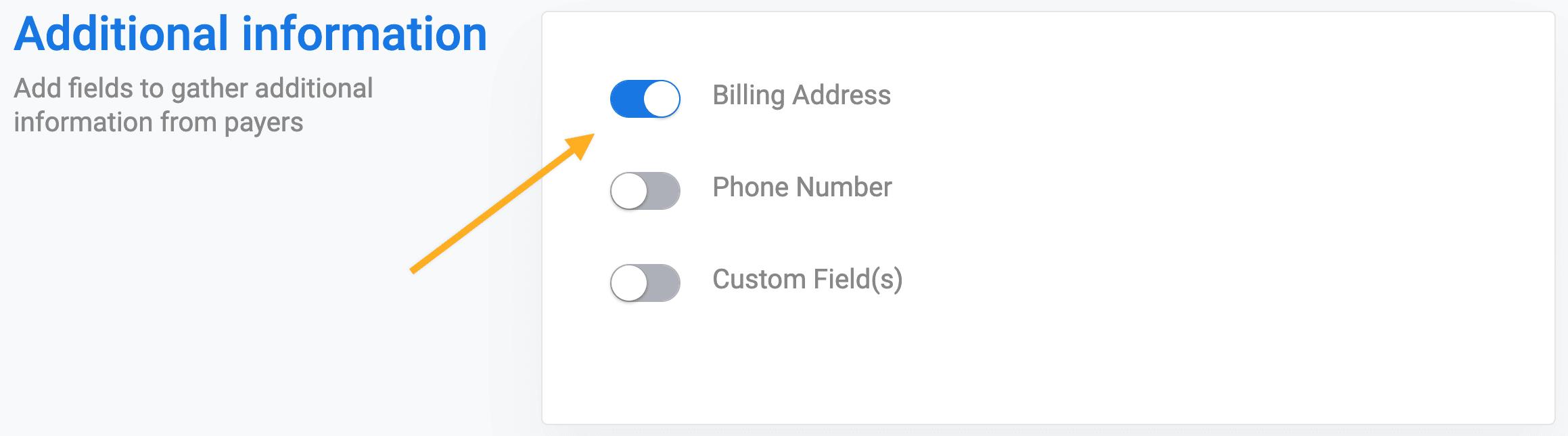 Billing address Stripe