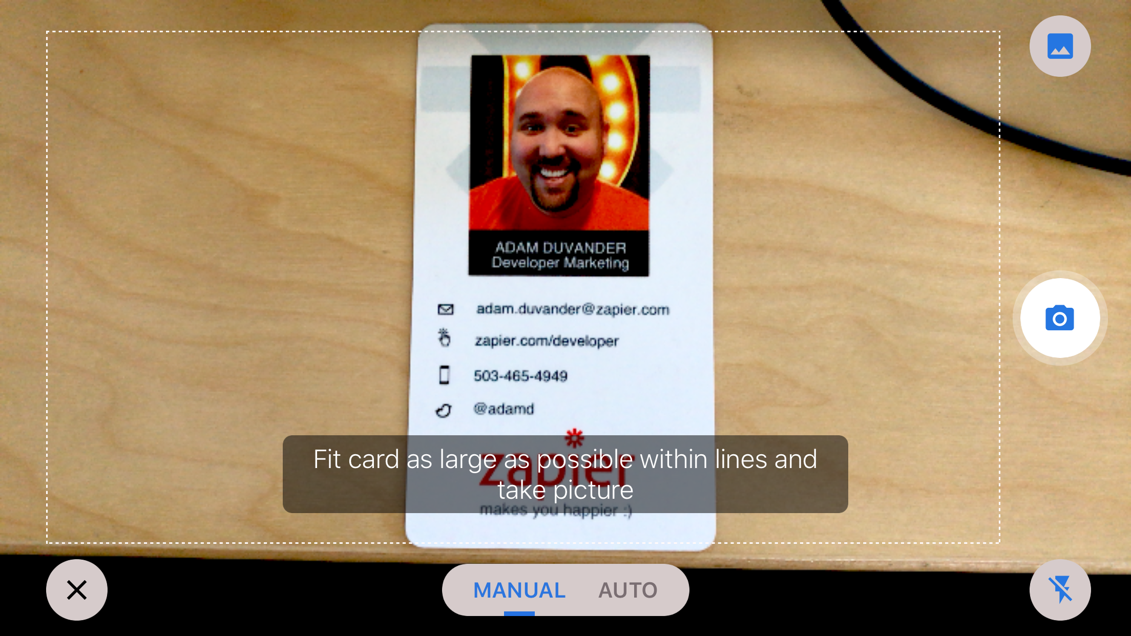 Nimble business card scanner for ios nimble customer care for cases where a business card is in a portrait vertical layout scan the card in manual mode while holding the phone horizontally in landscape mode reheart Images
