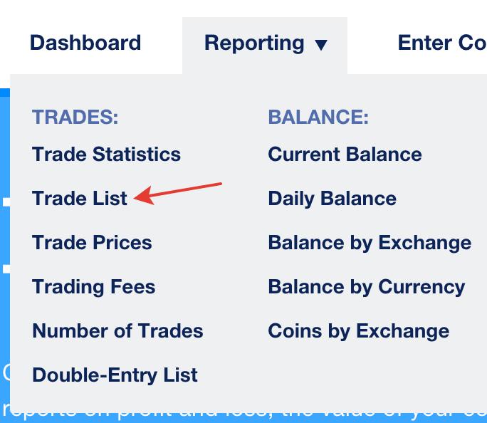Cliquez sur l'onglet Reporting puis la case Trade List afin d'exporter un fichier