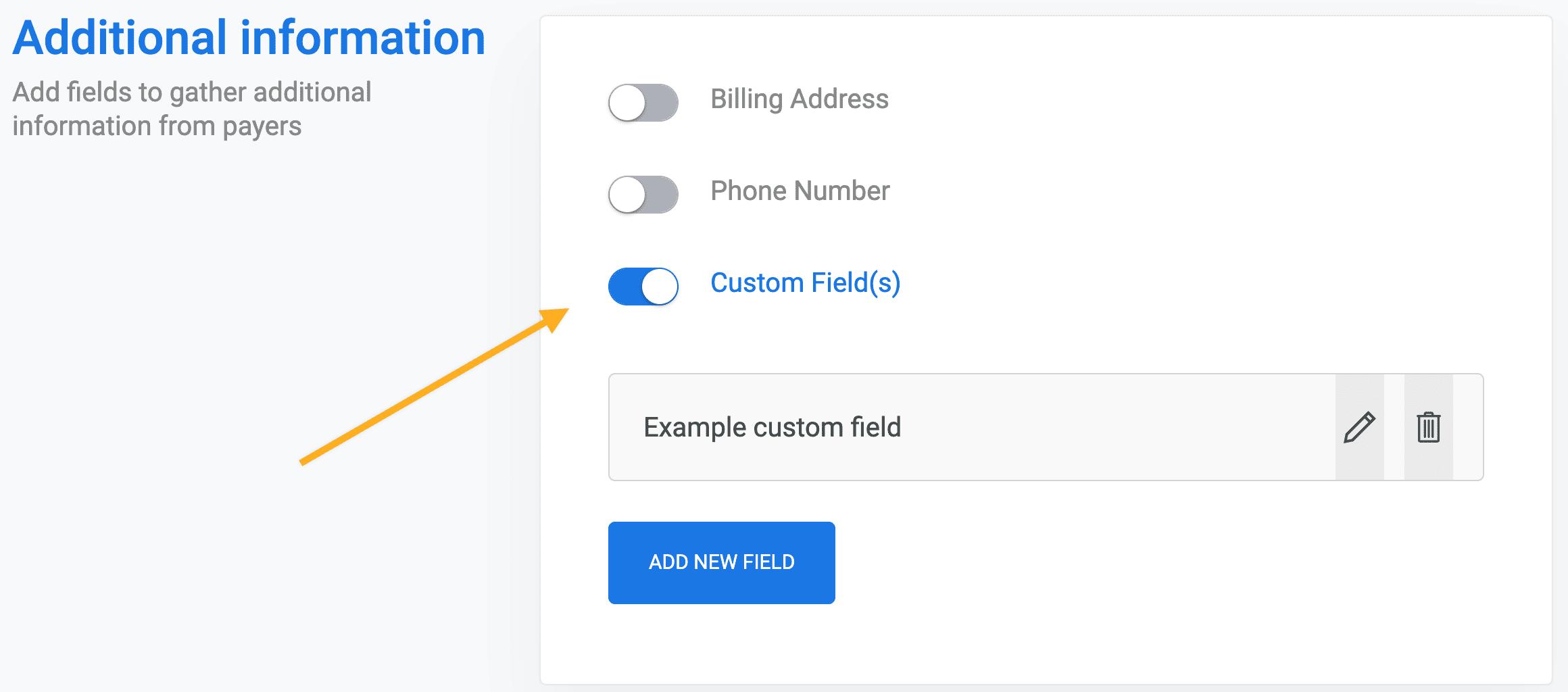 Custom fields payment form