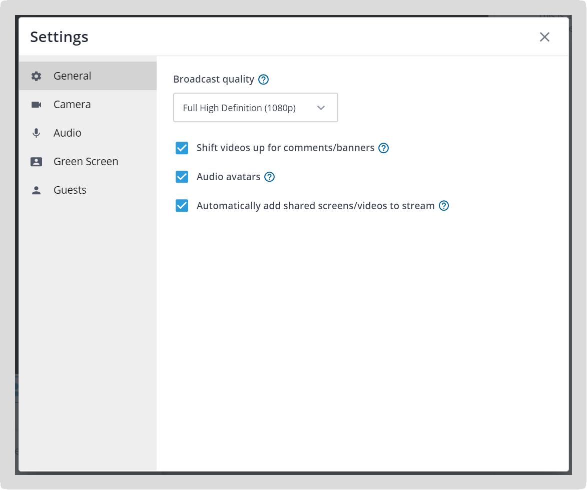 Screenshot of the stream settings pop-up.