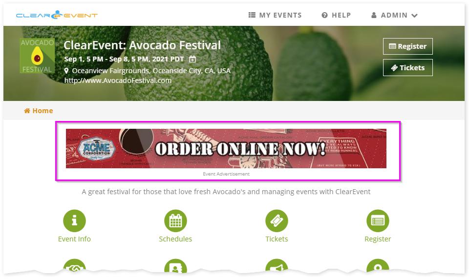 Example of custom event sponsor banner ad