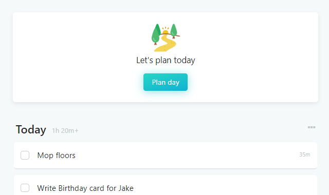 Plan day button in the main view