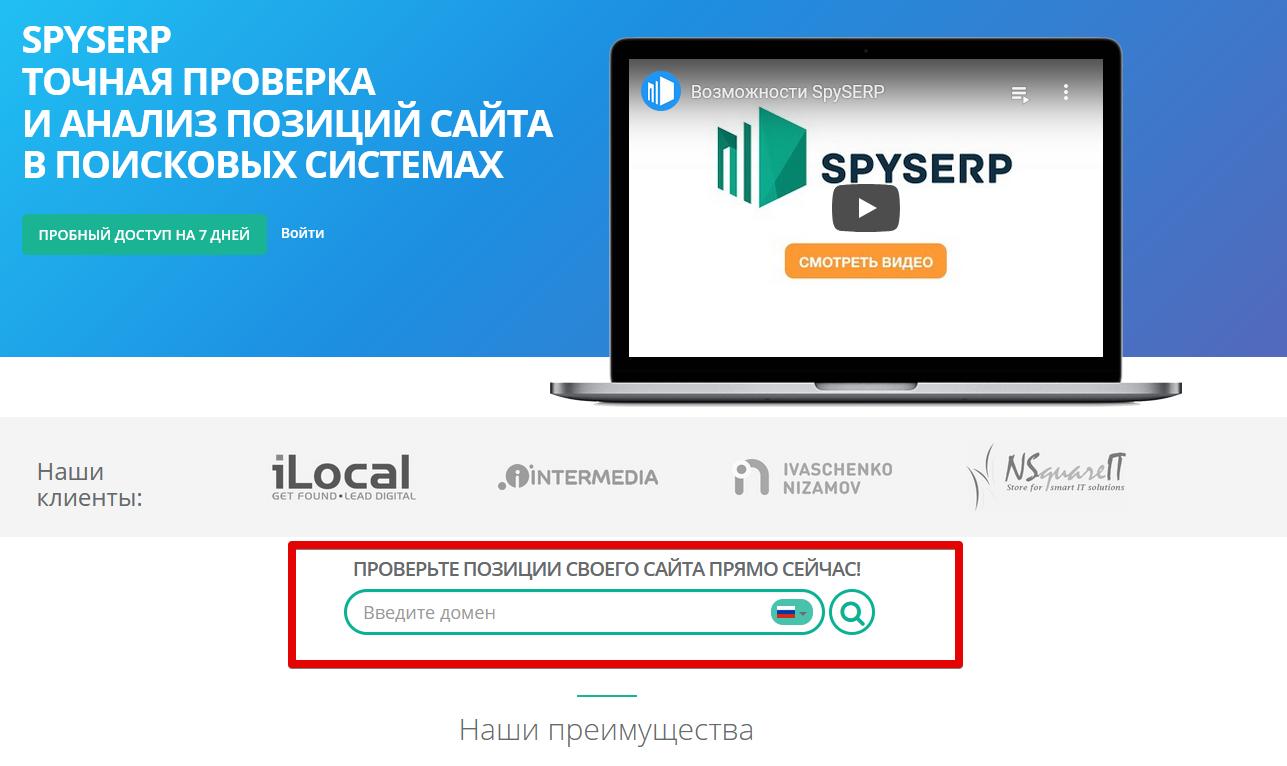 создание быстрого проекта SpySERP