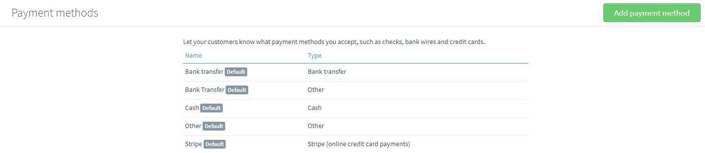 Create payment method | Billy U.S. Help Center