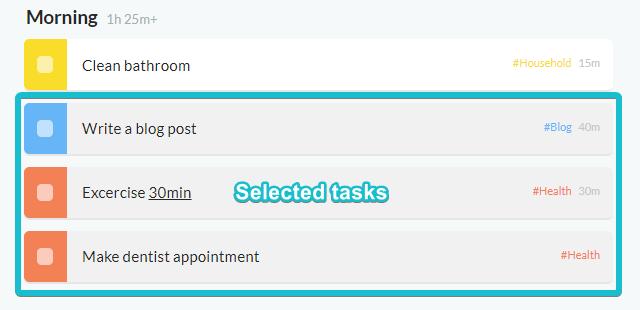 Selecting tasks for bulk editing