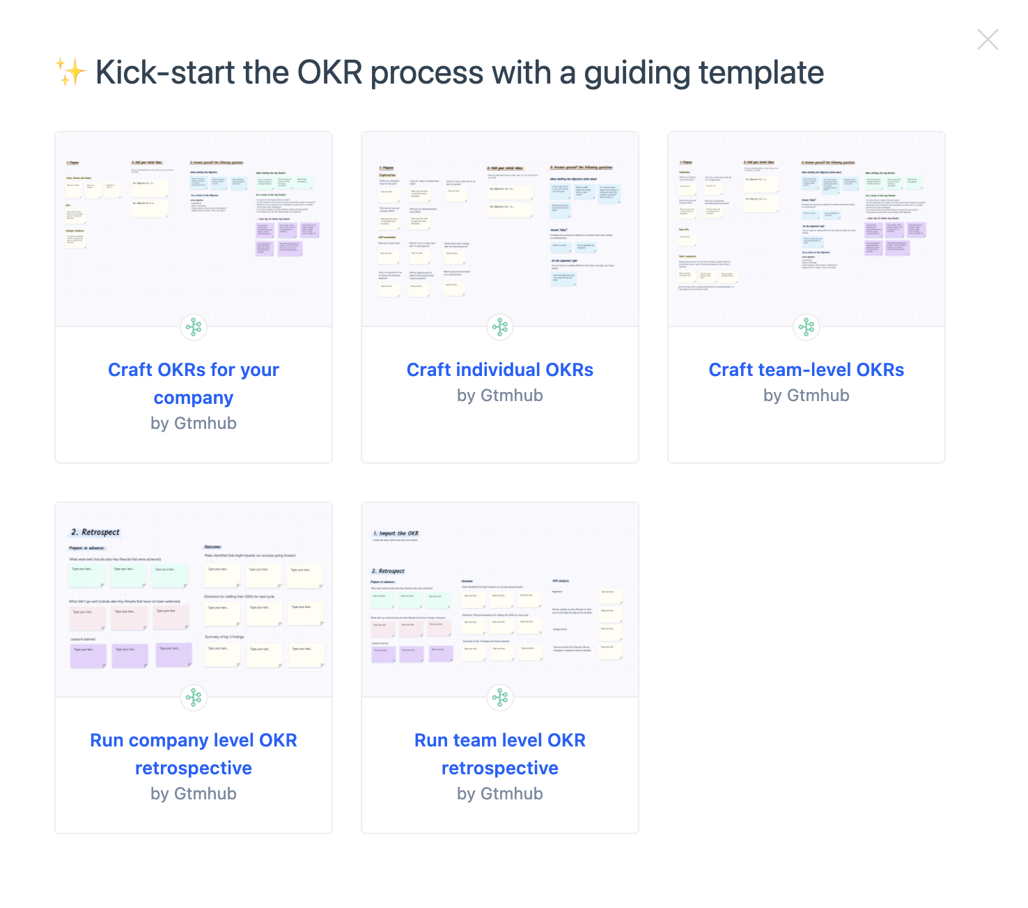 Kick-start the OKR process with Whiteboard templates
