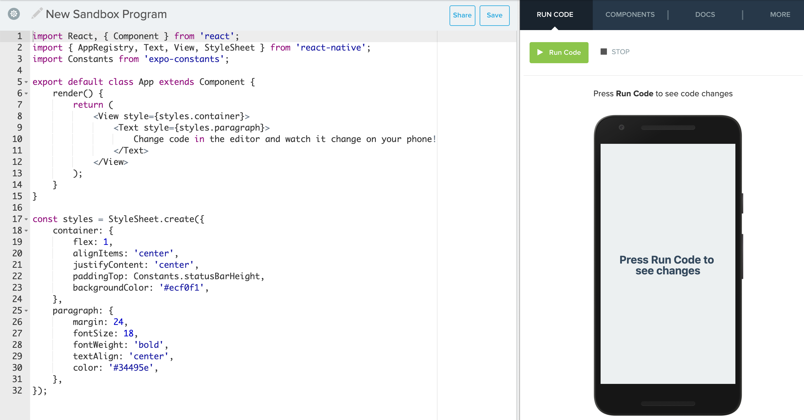 Screenshot of Sandbox IDE with starter code for a React Native program