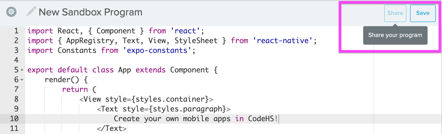 Screenshot of code editor with Share highlighted