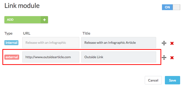 link module with external link example